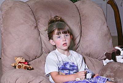 Little girl with a questioning look on her face