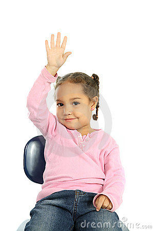 Little girl raising her hand