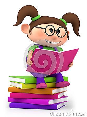 Free Little Girl Reading Stock Photo - 23835170