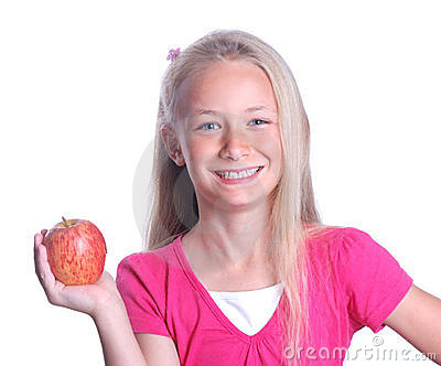 Little girl with red apple on white Stock Photo