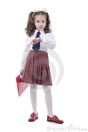 Little Girl With Red Glow Folder and Pink Clock