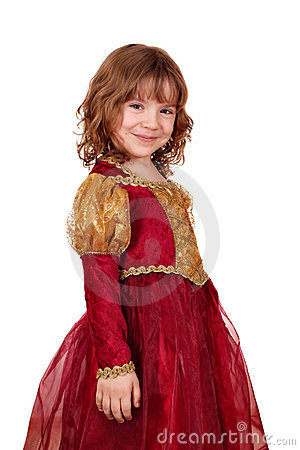 Little girl in red and gold dress