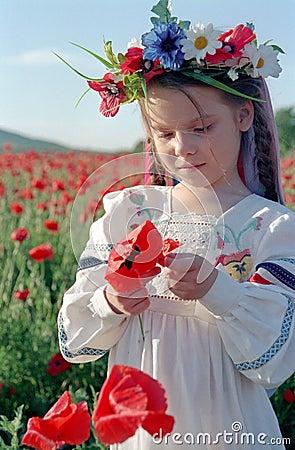 Little girl on red poppy field