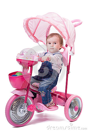 Free Little Girl Riding A Children Trike. Stock Images - 40472094