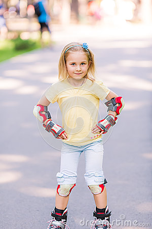 Free Little Girl Rollerskating In The Park Royalty Free Stock Photo - 45407005