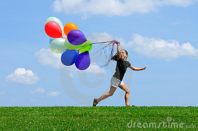 Little Girl Running with Balloons