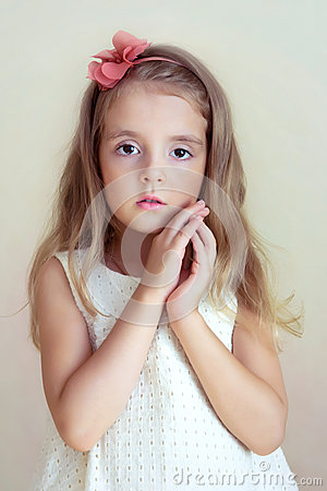 Free Little Girl S Portrait.Tender Serious Child, Fashion Model. Stock Photo - 59286990