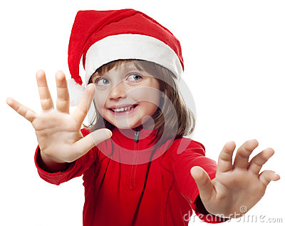 Little girl with a santa cap