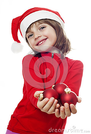 A little girl with a santa cap