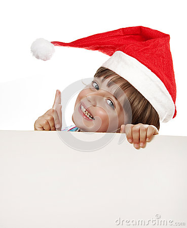 little girl with santa cap