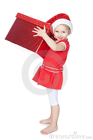Little girl in santa hat with big red gift on whit