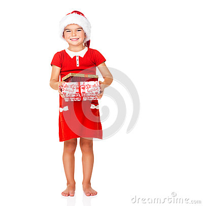 Little girl with Santa hat and gift on white