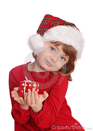Little girl with santa hat and red gift box