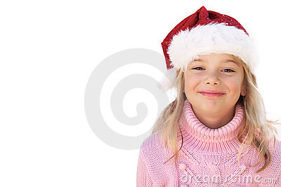 Little girl with Santa hat on white background