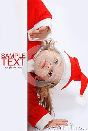 Little girl in Santa s hat