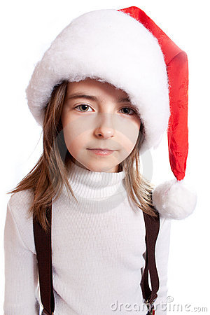 Little girl with santa s hat
