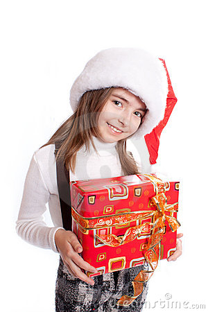 Little girl with santa s hat and gift holding