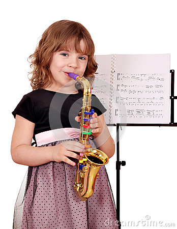 Little girl with saxophone