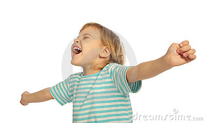 Little girl screaming, stretched hands
