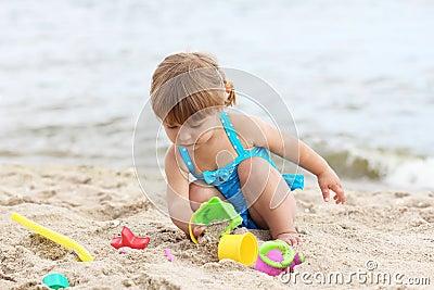 Little girl  on the sea