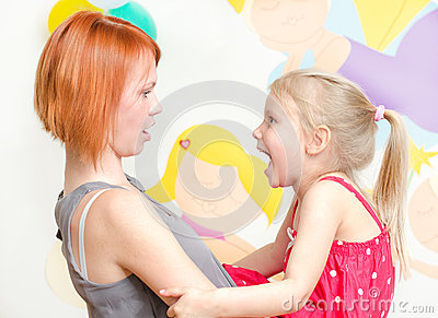 Child shouting at her mother