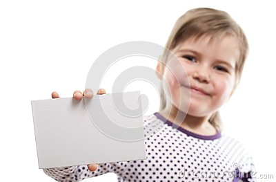 Little girl showing blank board
