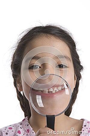 Little Girl Shows Her Teeth