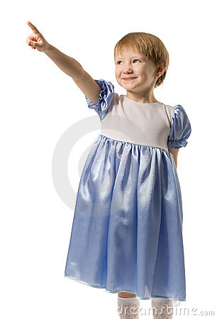 Little girl shows on something