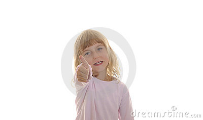 Little girl shows thumb up