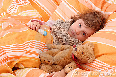 Little Girl Sick In Bed