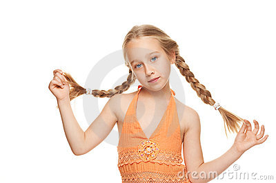 Little girl with side braids