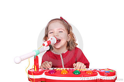 Little girl sing and play