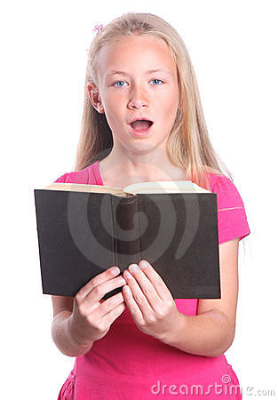 Little girl singing with book Stock Photo