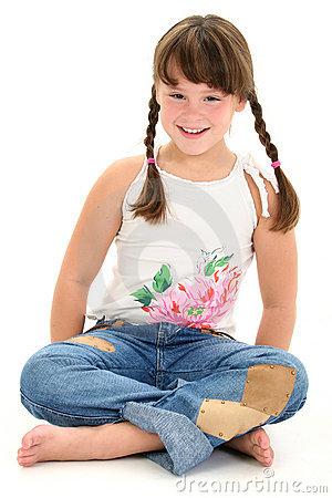 Free Little Girl Sitting Barefoot On White Floor Royalty Free Stock Images - 247909