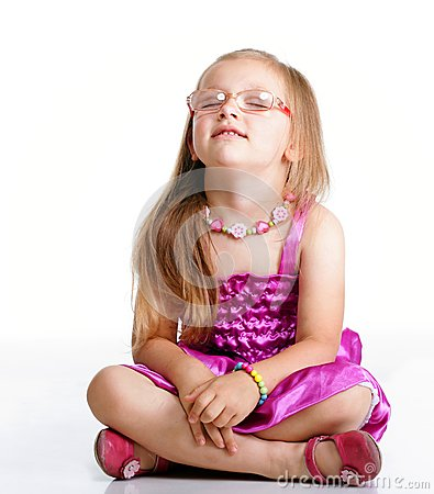 Free Little Girl Sitting On Floor Closed Eyes Isolated Royalty Free Stock Photo - 40679765
