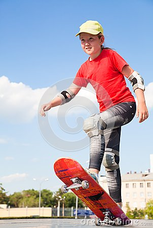 Little girl -  skateboarder