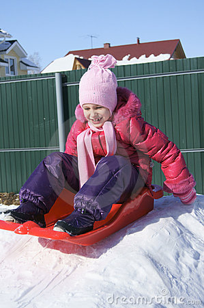 Little Girl on a Sled