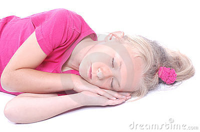 Little girl sleeping on white