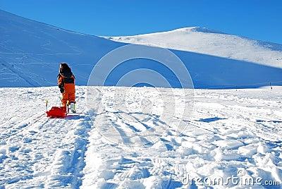 Little girl with sleigh