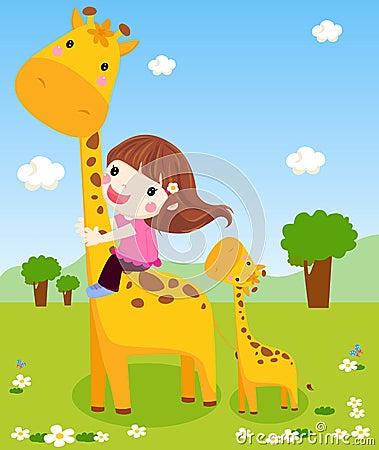 A little girl is sliding down a giraffe s neck