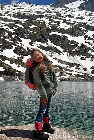Little girl smiling in Hight mountains
