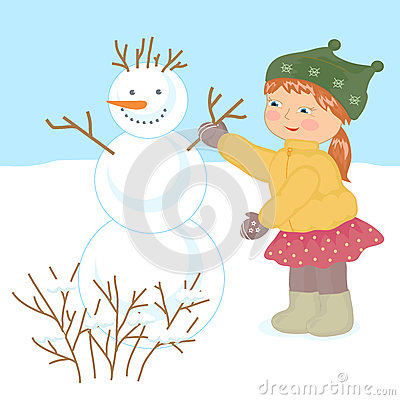 Little girl and snowman. Vector Illustration