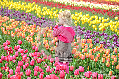Little girl in spring tulips