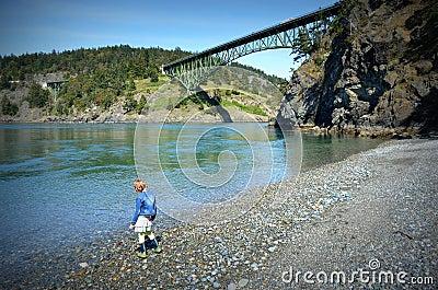 Little girl standing on shingle beach