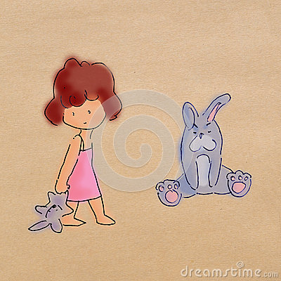 Little girl stands and hold rabbit doll