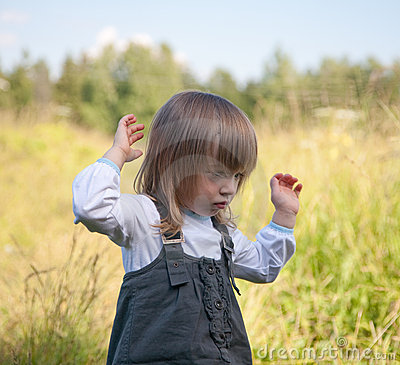 The little girl on summer meadow