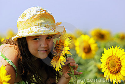 The Little girl and Sunflowers