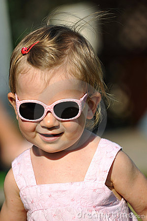 Little girl with sunglasses portrait