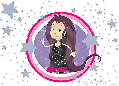 Little girl surrounded by stars
