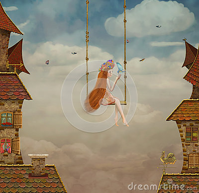 Little girl on a swing,tile Roofs with sky